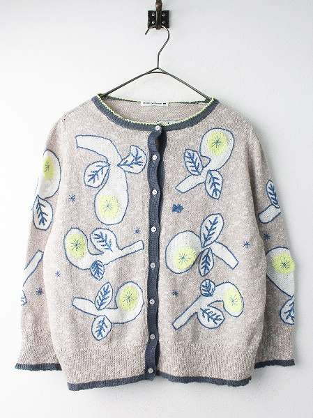 bow 刺繍 コットン リネン ニット カーディガン