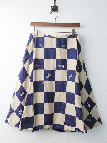 choucho ブロックチェック 刺繍 スカート
