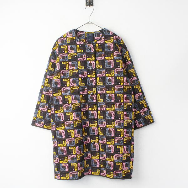 lolo 刺繍 ノーカラー ロング コート