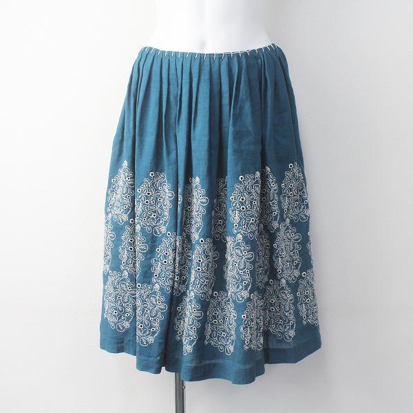 sometimes lucky カシミヤ リネン 刺繍 フレア スカート