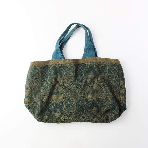 forest tile 刺繍 リネンキャンバストートバッグ